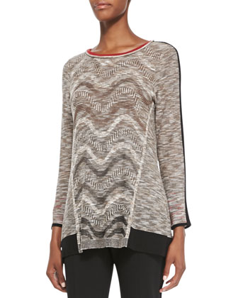 Tonal Waves Knit Top, Petite