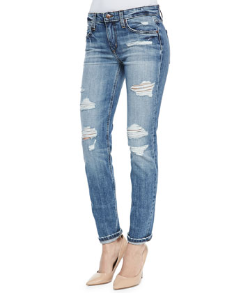 Gessa Slouched Slim Leg Distressed Jeans