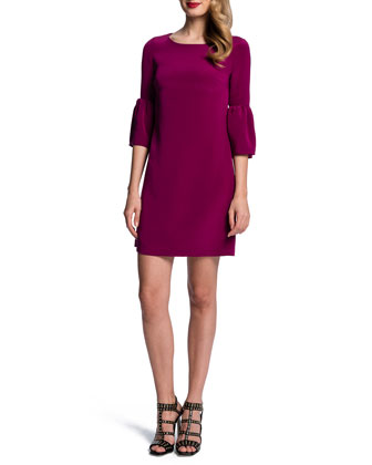 Round-Neck Trumpet-Sleeve Minidress