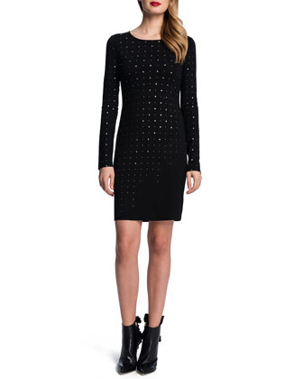 Long-Sleeve Embellished Dress