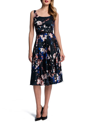Sleeveless Garden-Print Midi Dress