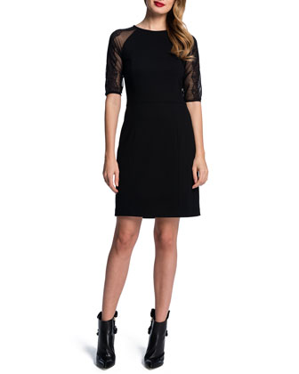 Lace-Half-Sleeve Knit Sheath Dress