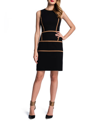 Sleeveless Contrast Trim Sheath Dress