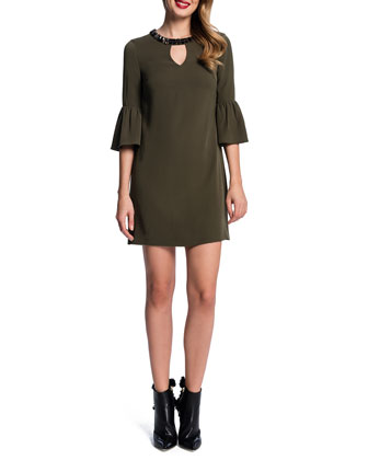 Trumpet-Sleeve Shift Dress, Caper