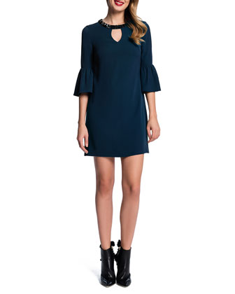 Trumpet-Sleeve Shift Dress