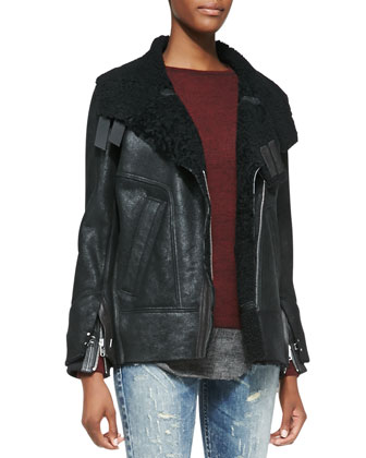 Jenny Shearling/Lambskin Jacket, Shura Sweater with Flannel Hem & Roxanne ...