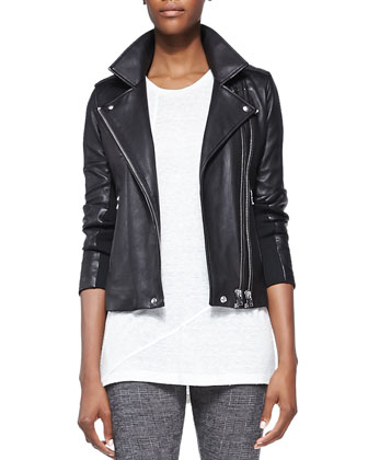 Vika Leather/Knit Moto Jacket