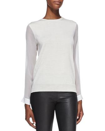 Aylina Felt Funnel-Neck Coat, Masha Silk-Sleeve Wool Sweater & Ilyes ...