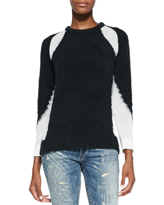 Shani Combo-Knit Contrast Sweater