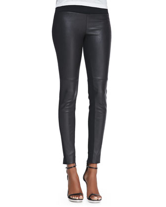 Ilyes Leather-Front Ponte Leggings