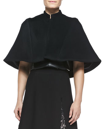 Lyra Wool-Blend Collared Cape