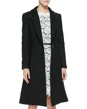 Caldera Leather-Trim Belted Coat & Alex Lace A-Line Dress