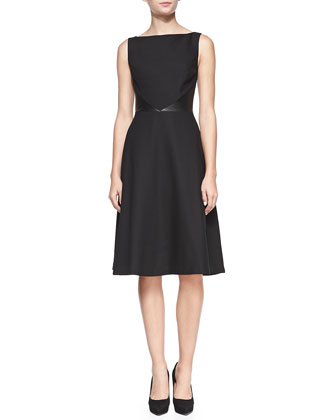 Dina Faux-Leather-Inset Sleeveless Dress