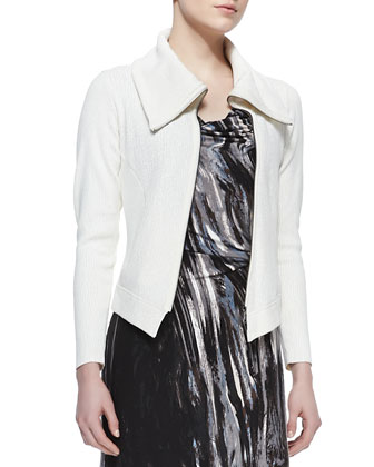 Foiled Knit Moto Jacket, Petite
