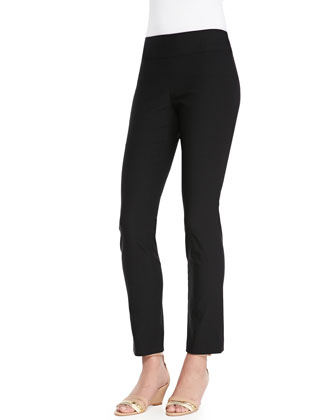 Wonderstretch Straight-Leg Pants, Black, Petite