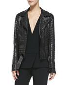 Night Studded Leather Moto Jacket