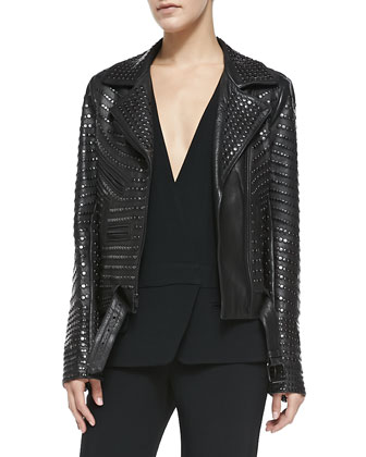 Blake Leather Moto Jacket w/Removable Hood
