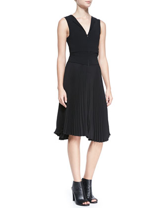 Etta Sleeveless Dress with A-Line Pleated Skirt