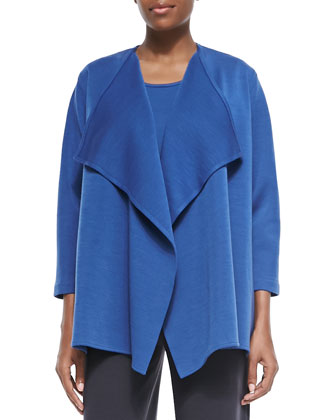 Wool Knit Draped Jacket, Petite