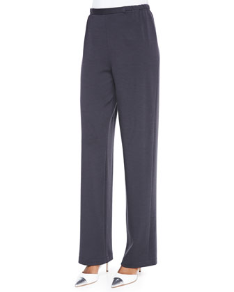 Straight-Leg Flat Knit Wool Pants