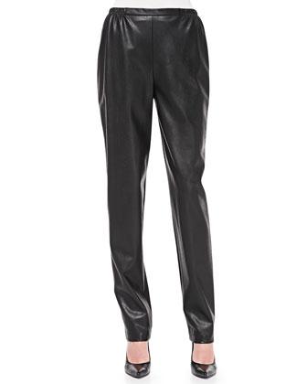 Faux Leather Slim-Fit Pants, Women's