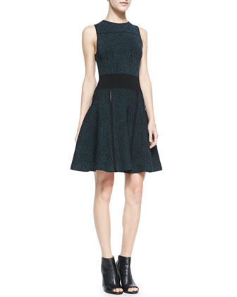 Fingerprint Jacquard Sleeveless Dress