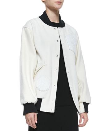 Tristen Wool-Blend Varsity Jacket & Kaat Cutout Crepe Apron Dress