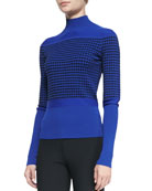 Grid-Pattern Slim Turtleneck