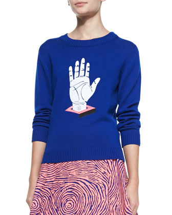 Hand-Print Relaxed Knit Sweater & Fingerprint-Circle A-Line Skirt