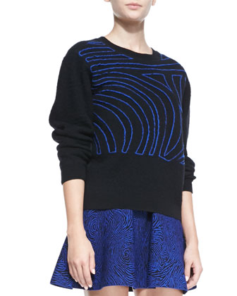 Fingerprint Wool Crewneck Sweater & Jacquard Flared Skirt