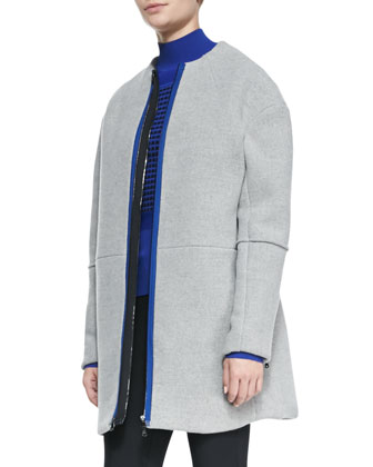 Front-Zip Collarless Felt Coat, Grid-Pattern Slim Turtleneck & Thea ...