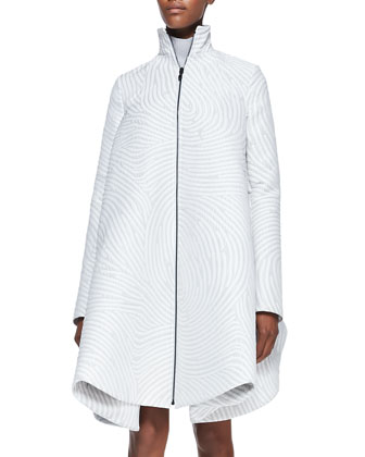 Dimensional Fingerprint-Swirl Jacquard Coat