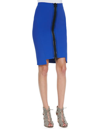 Thea Zip-Front Pencil Skirt