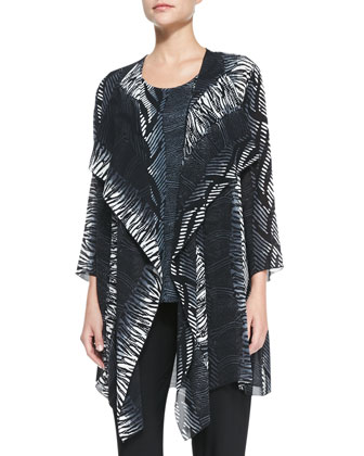 Open-Front Tribal-Print Cardigan
