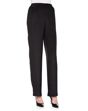 Silk Crepe Straight-Leg Pants, Women's