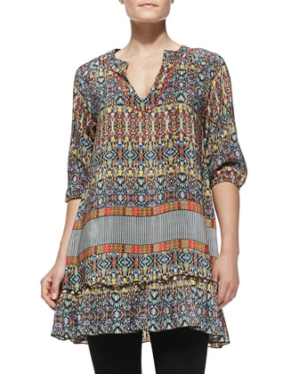 Gina Silk Printed Long Tunic, Women's