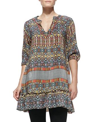 Hathi Silk Elephant-Print Scarf & Gina Silk Printed Long Tunic