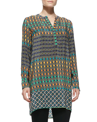 Lorraine Silk Printed Long-Sleeve Tunic, Women's