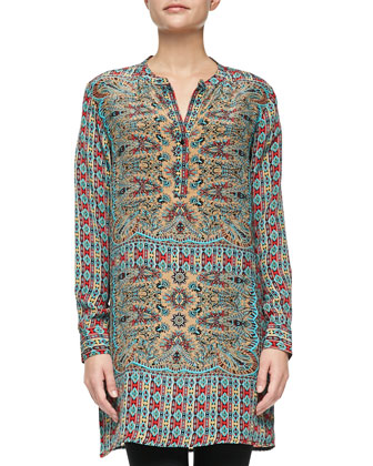 Lorraine Silk Printed Long-Sleeve Tunic, Turquoise, Women's
