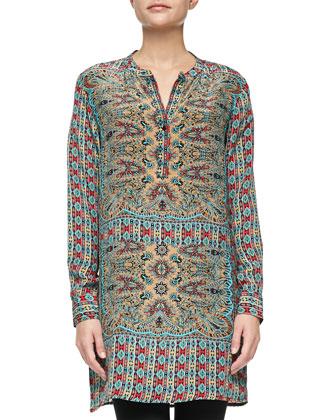 Lorraine Silk Printed Long-Sleeve Tunic, Turquoise