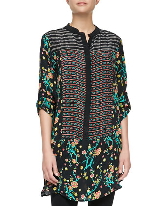 Sam Silk Printed Long-Sleeve Tunic, Noir, Women's