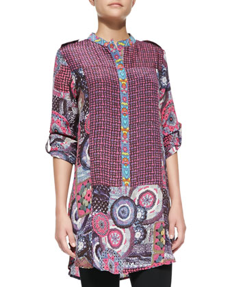 Sam Silk Printed Long-Sleeve Tunic, Plum