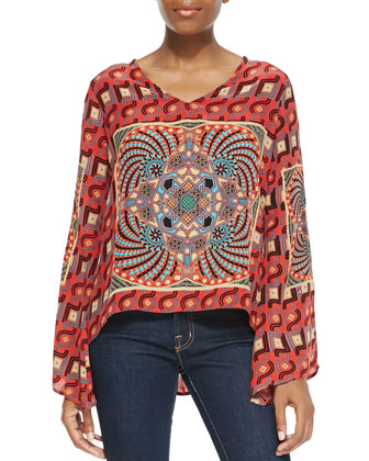 Ramona Printed Tunic, Red, Women's
