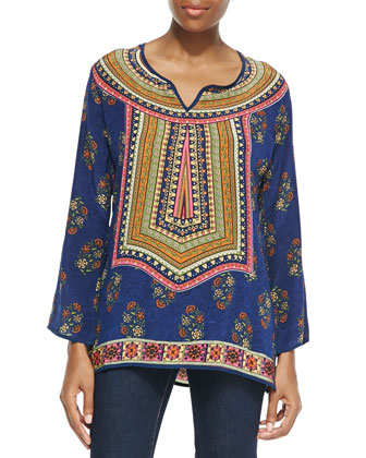 Zoe Printed Silk Tunic