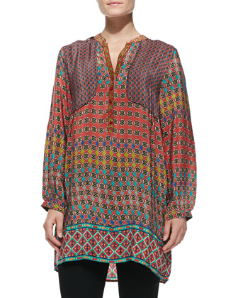 Priscilla Circle-Print Silk Tunic, Women's