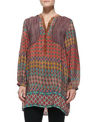 Priscilla Circle-Print Silk Tunic