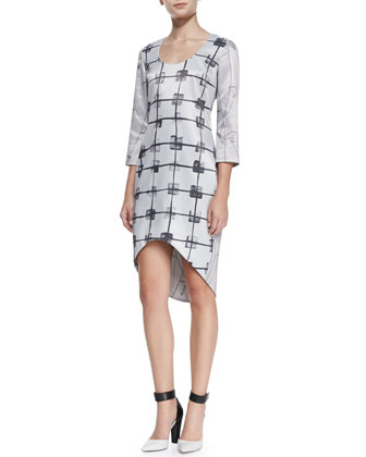 The Delancey Windowpane-Print Dress