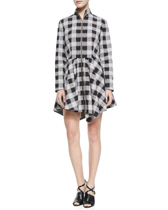 The Max Plaid Front-Zip Dress