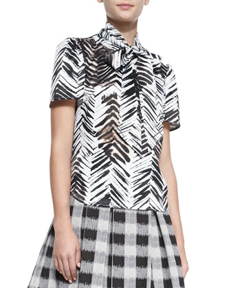 The Jabow Printed Tie-Neck Blouse & The Awning Pleated A-Line Skirt