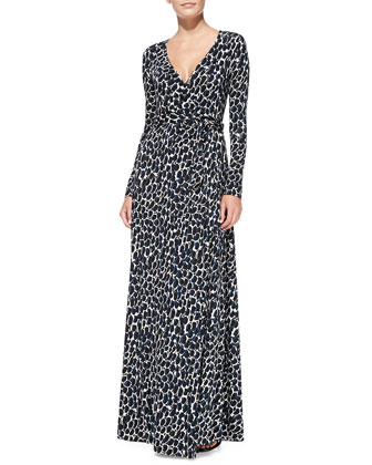 Harlow Long-Sleeve Printed Maxi Dress, Women's
